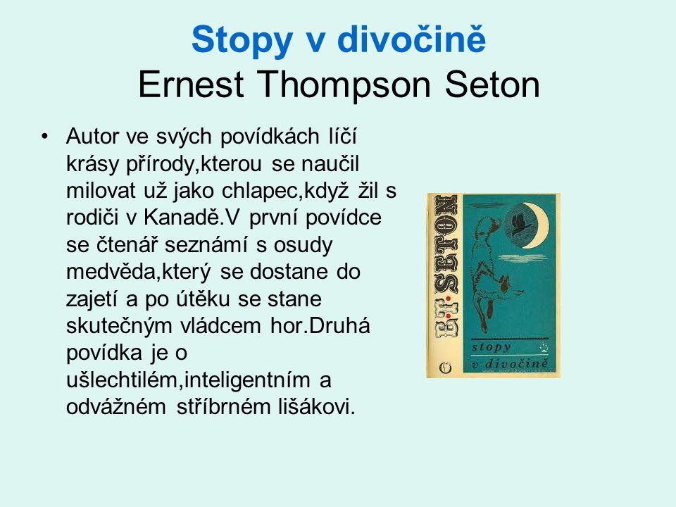 Stopy v divočině Ernest Thompson Seton •Autor ve svých povídkách líčí krásy přírody,kterou se naučil milovat už jako chlapec,když žil s rodiči v Kanadě.V první povídce se čtenář seznámí s osudy medvěda,který se dostane do zajetí a po útěku se stane skutečným vládcem hor.Druhá povídka je o ušlechtilém,inteligentním a odvážném stříbrném lišákovi.