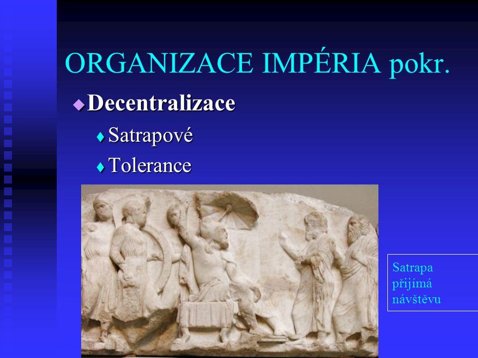  Decentralizace  Satrapové  Tolerance Satrapa přijímá návštěvu ORGANIZACE IMPÉRIA pokr.