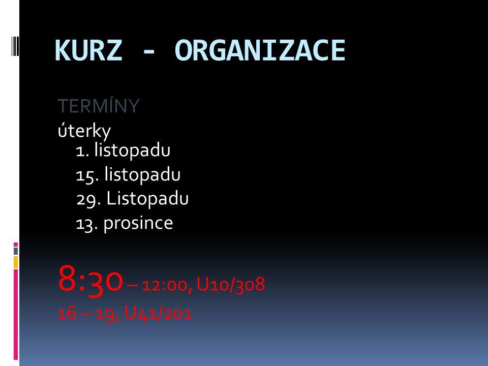 KURZ - ORGANIZACE TERMÍNY úterky 1.listopadu 15. listopadu 29.