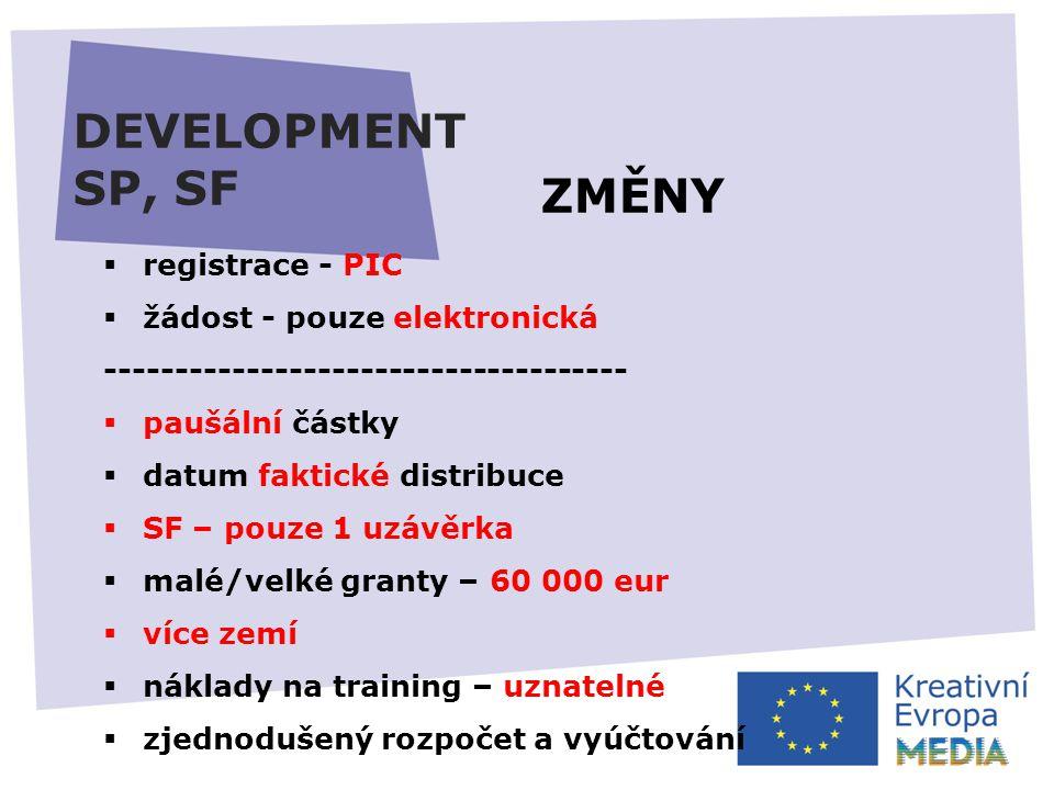 DEVELOPMENT SP, SF  registrace - PIC  žádost - pouze elektronická -------------------------------------  paušální částky  datum faktické distribuce  SF – pouze 1 uzávěrka  malé/velké granty – 60 000 eur  více zemí  náklady na training – uznatelné  zjednodušený rozpočet a vyúčtování ZMĚNY