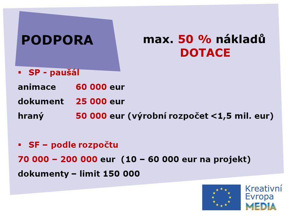  SP - paušál animace 60 000 eur dokument 25 000 eur hraný50 000 eur (výrobní rozpočet <1,5 mil.