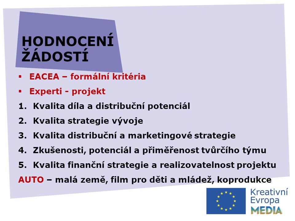  EACEA – formální kritéria  Experti - projekt 1.Kvalita díla a distribuční potenciál 2.Kvalita strategie vývoje 3.Kvalita distribuční a marketingové strategie 4.Zkušenosti, potenciál a přiměřenost tvůrčího týmu 5.Kvalita finanční strategie a realizovatelnost projektu AUTO – malá země, film pro děti a mládež, koprodukce HODNOCENÍ ŽÁDOSTÍ
