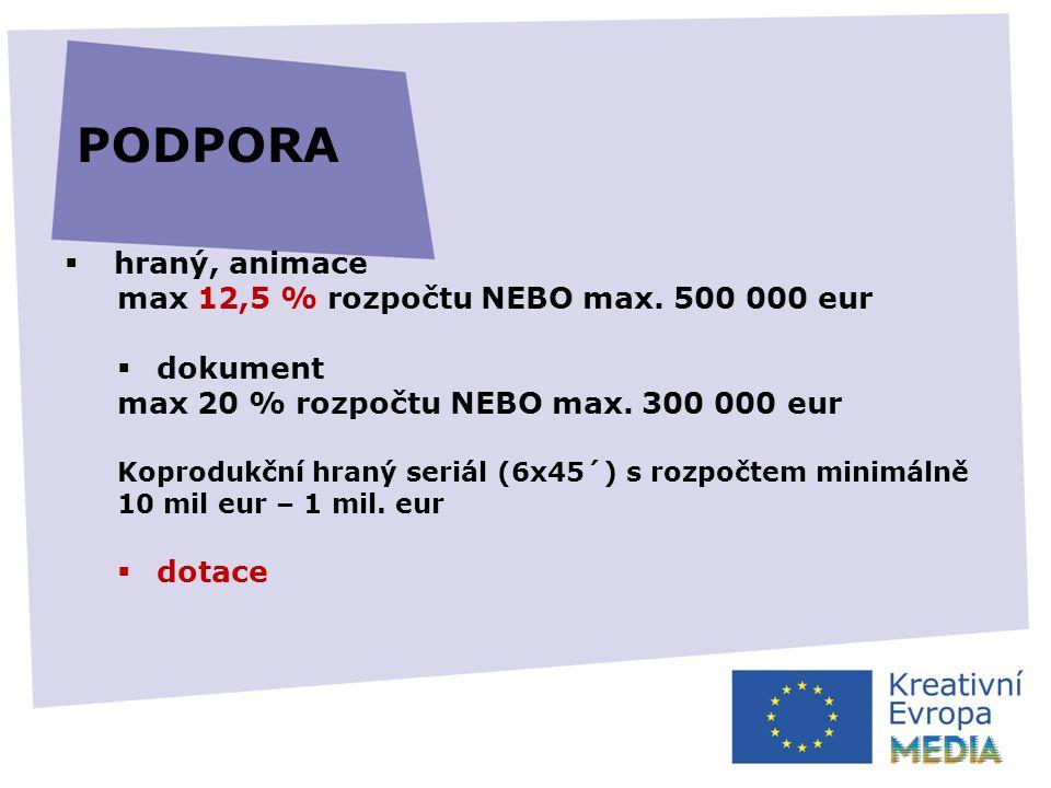  hraný, animace max 12,5 % rozpočtu NEBO max. 500 000 eur  dokument max 20 % rozpočtu NEBO max.
