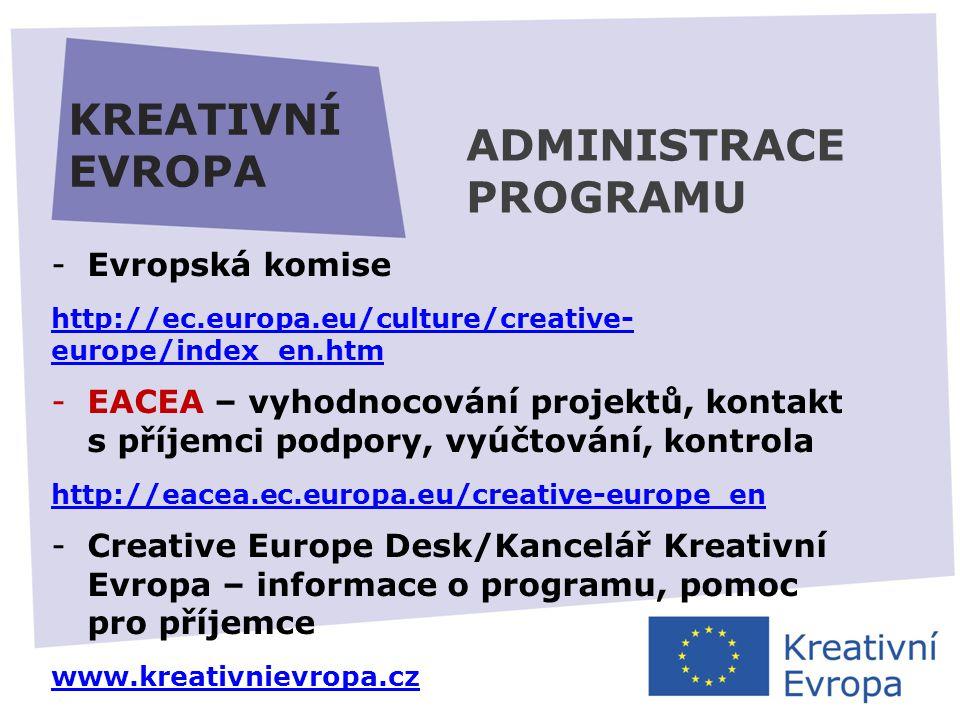 27.11.2013 KREATIVNÍ EVROPA -Evropská komise http://ec.europa.eu/culture/creative- europe/index_en.htm -EACEA – vyhodnocování projektů, kontakt s příjemci podpory, vyúčtování, kontrola http://eacea.ec.europa.eu/creative-europe_en -Creative Europe Desk/Kancelář Kreativní Evropa – informace o programu, pomoc pro příjemce www.kreativnievropa.cz ADMINISTRACE PROGRAMU