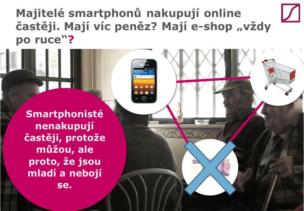 """Majitelé smartphonů nakupují online častěji. Mají víc peněz? Mají e-shop """"vždy po ruce""""? Smartphonisté nenakupují častěji, protože můžou, ale proto, ž"""