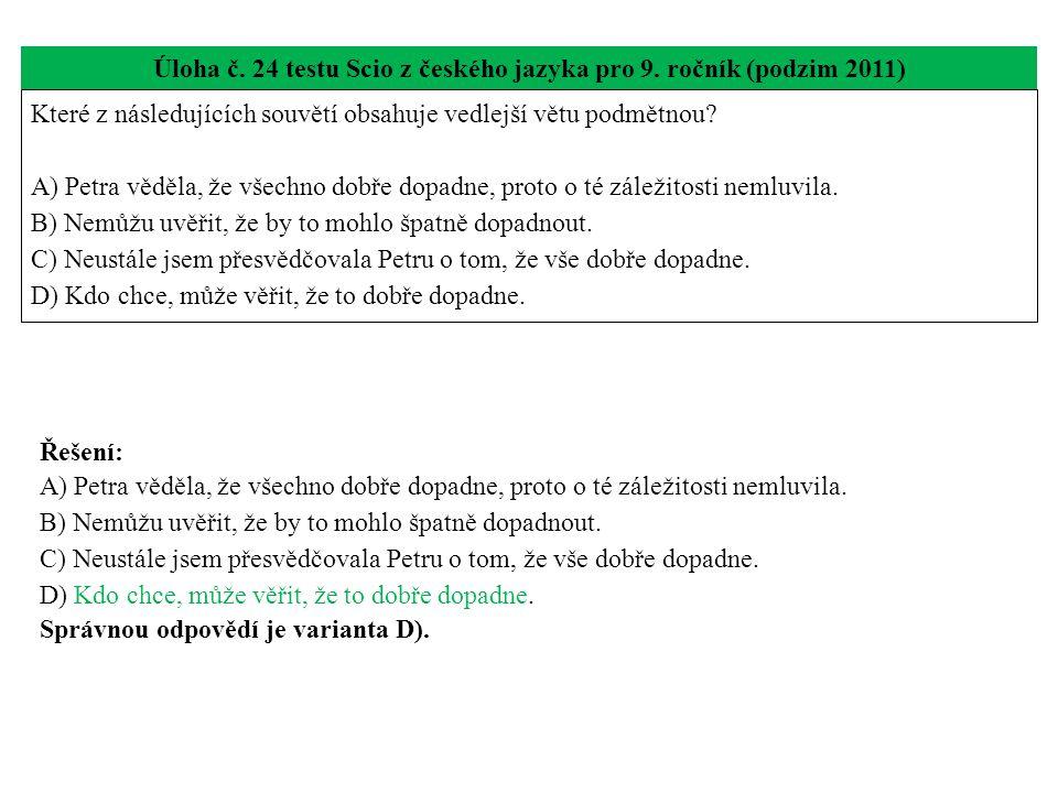 Úloha č.24 testu Scio z českého jazyka pro 9.