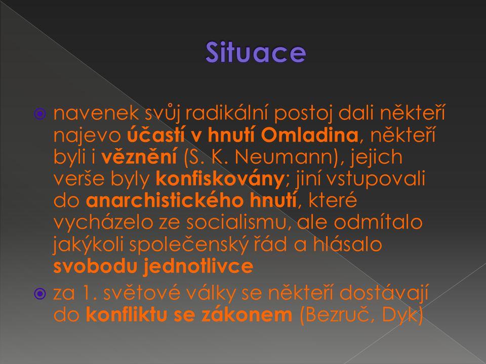  navenek svůj radikální postoj dali někteří najevo účastí v hnutí Omladina, někteří byli i věznění (S.