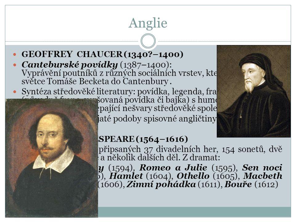 Anglie  G EOFFREY CHAUCER (1340?–1400)  Canteburské povídky (1387–1400): Vyprávění poutníků z různých sociálních vrstev, kteří putují k hrobu světce