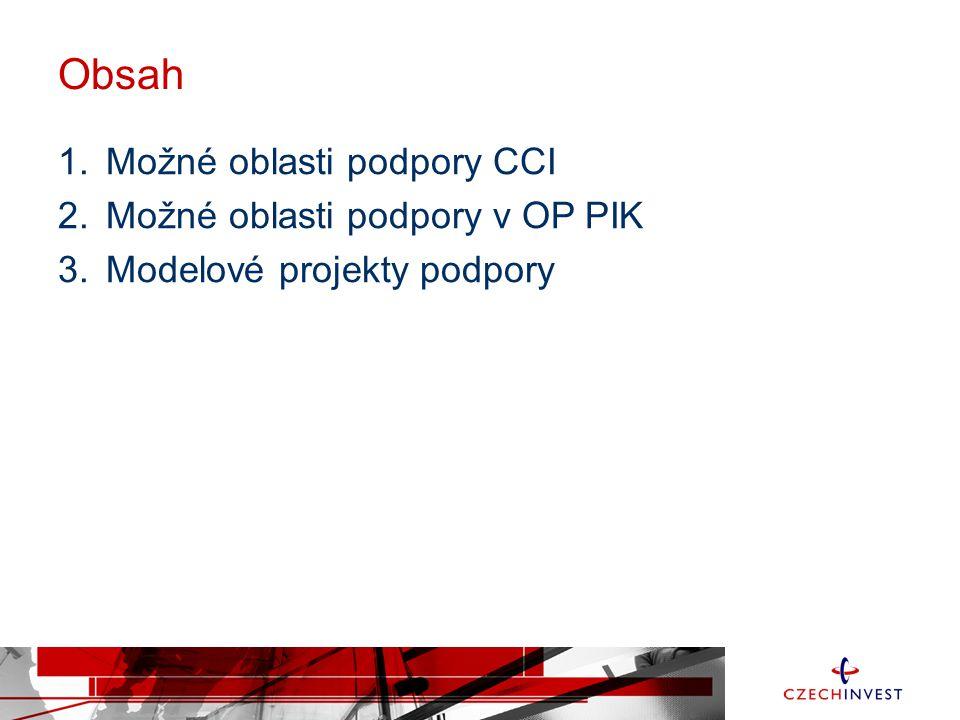 Obsah 1.Možné oblasti podpory CCI 2.Možné oblasti podpory v OP PIK 3.Modelové projekty podpory