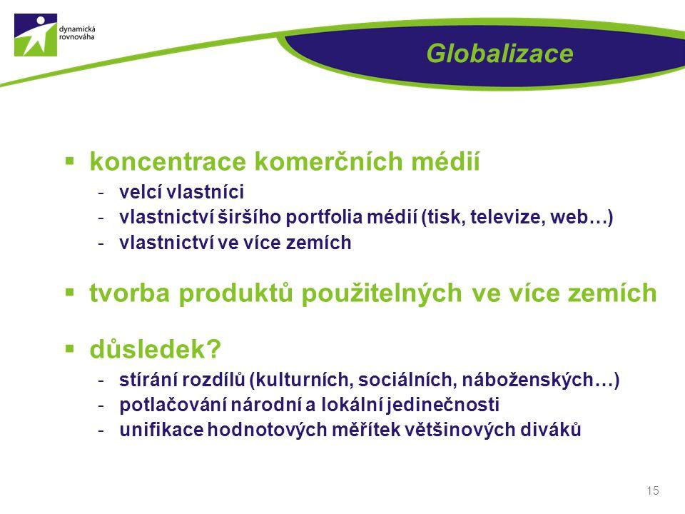 Globalizace  koncentrace komerčních médií -velcí vlastníci -vlastnictví širšího portfolia médií (tisk, televize, web…) -vlastnictví ve více zemích 
