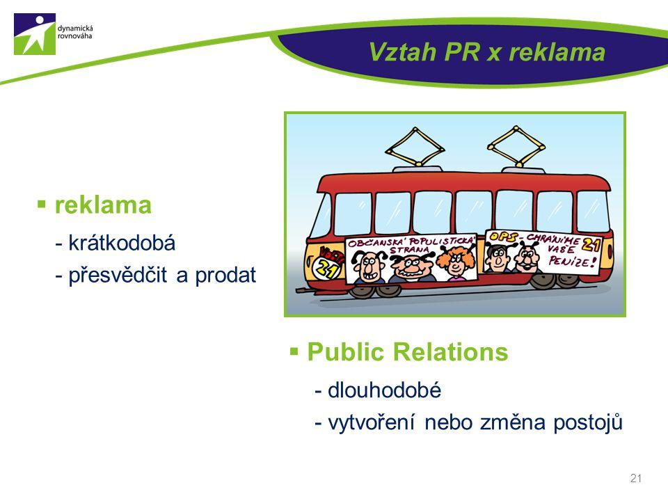 Vztah PR x reklama  reklama - krátkodobá - přesvědčit a prodat 21  Public Relations - dlouhodobé - vytvoření nebo změna postojů