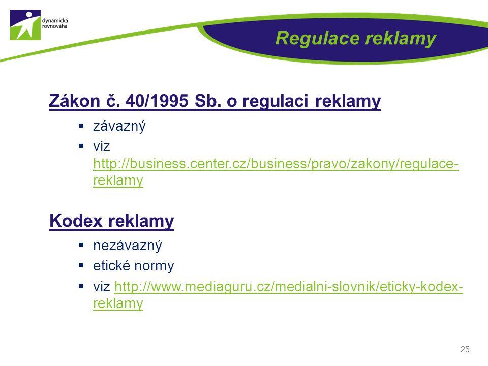 Regulace reklamy Zákon č. 40/1995 Sb. o regulaci reklamy  závazný  viz http://business.center.cz/business/pravo/zakony/regulace- reklamy http://busi