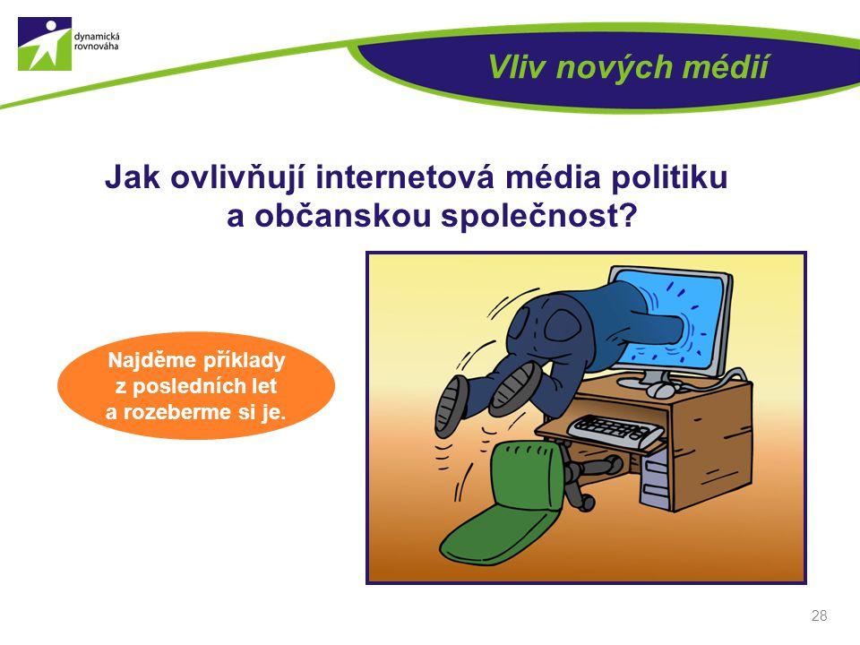 Vliv nových médií Jak ovlivňují internetová média politiku a občanskou společnost? 28 Najděme příklady z posledních let a rozeberme si je.