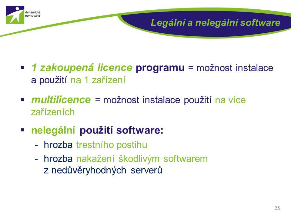 Legální a nelegální software  1 zakoupená licence programu = možnost instalace a použití na 1 zařízení  multilicence = možnost instalace použití na