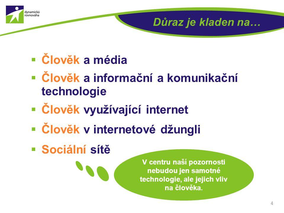 Důraz je kladen na…  Člověk a média  Člověk a informační a komunikační technologie  Člověk využívající internet  Člověk v internetové džungli  So