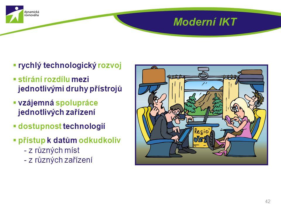 Moderní IKT  rychlý technologický rozvoj  stírání rozdílu mezi jednotlivými druhy přístrojů  vzájemná spolupráce jednotlivých zařízení  dostupnost