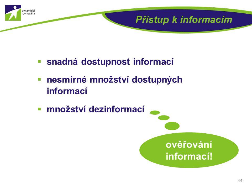 Přístup k informacím  snadná dostupnost informací  nesmírné množství dostupných informací  množství dezinformací 44 ověřování informací!