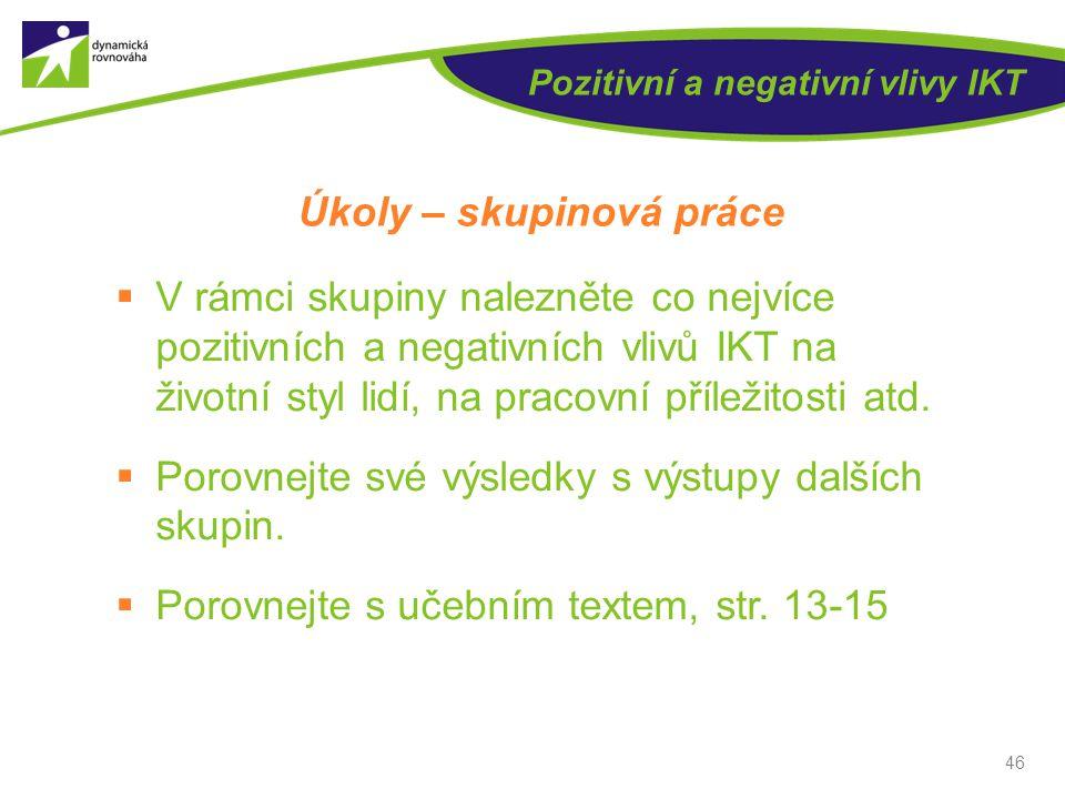 46 Pozitivní a negativní vlivy IKT Úkoly – skupinová práce  V rámci skupiny nalezněte co nejvíce pozitivních a negativních vlivů IKT na životní styl