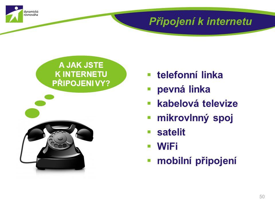 Připojení k internetu  telefonní linka  pevná linka  kabelová televize  mikrovlnný spoj  satelit  WiFi  mobilní připojení 50 A JAK JSTE K INTER
