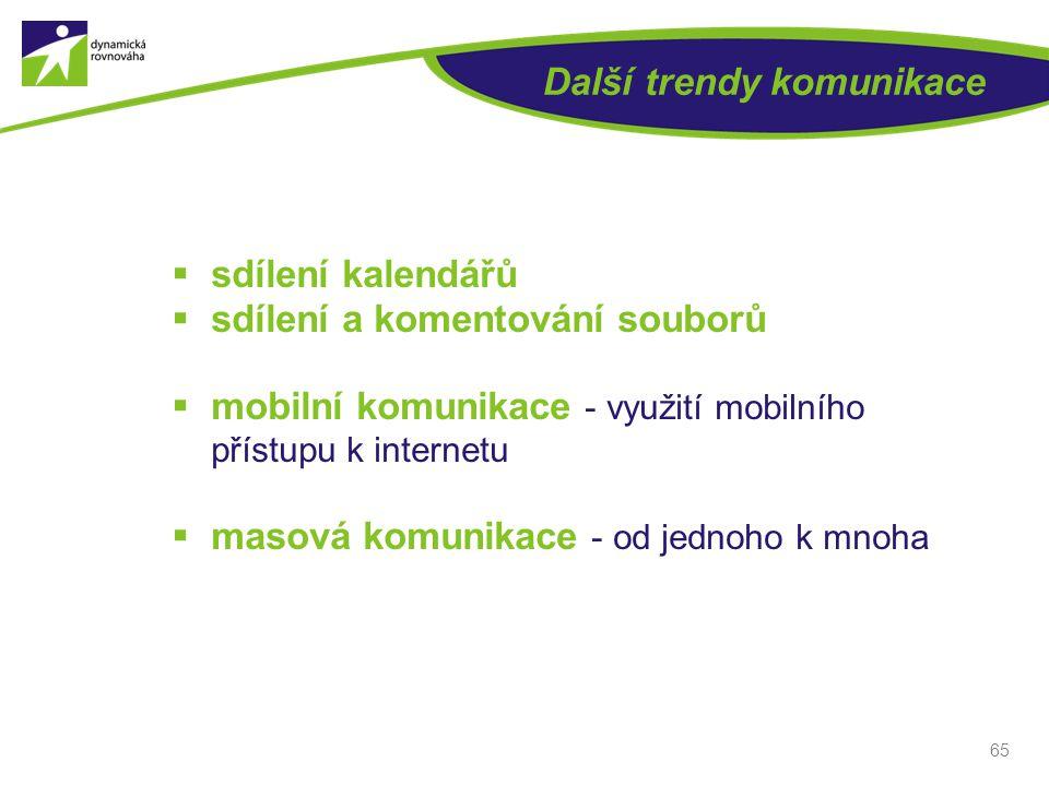 Další trendy komunikace  sdílení kalendářů  sdílení a komentování souborů  mobilní komunikace - využití mobilního přístupu k internetu  masová kom