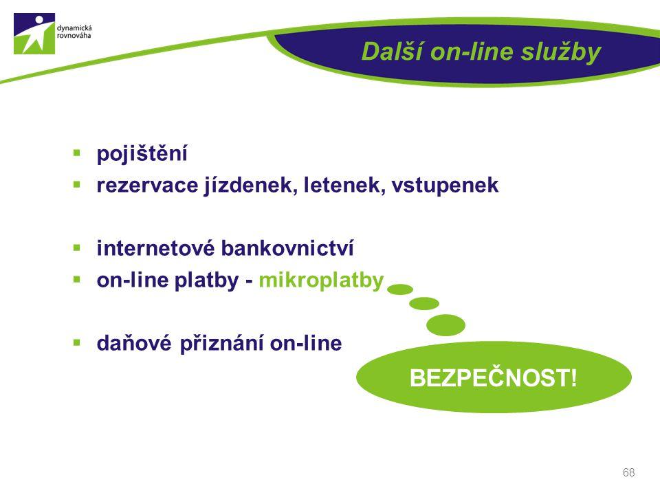 Další on-line služby  pojištění  rezervace jízdenek, letenek, vstupenek  internetové bankovnictví  on-line platby - mikroplatby  daňové přiznání