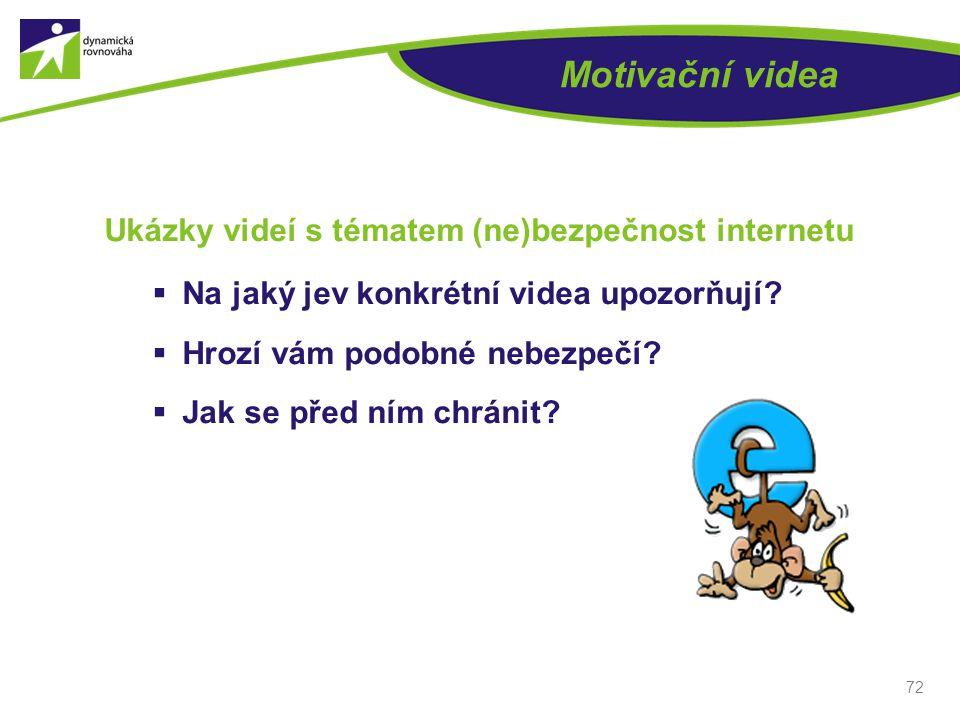 Motivační videa Ukázky videí s tématem (ne)bezpečnost internetu  Na jaký jev konkrétní videa upozorňují?  Hrozí vám podobné nebezpečí?  Jak se před