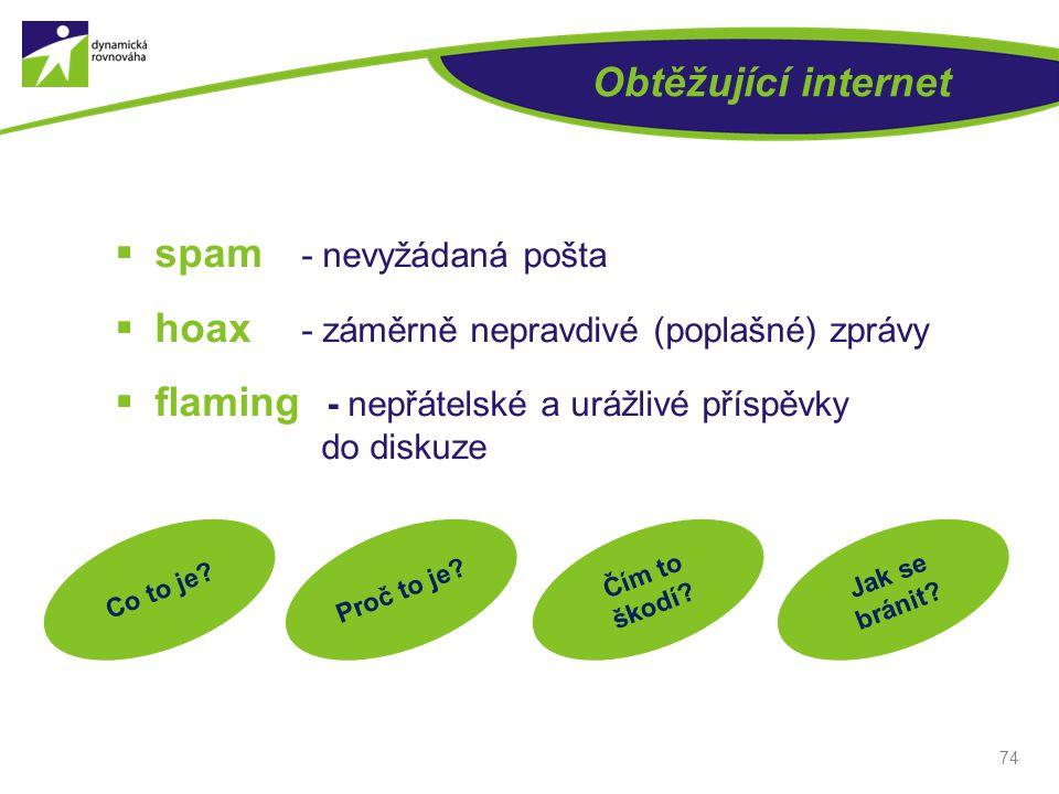 Obtěžující internet  spam - nevyžádaná pošta  hoax - záměrně nepravdivé (poplašné) zprávy  flaming - nepřátelské a urážlivé příspěvky do diskuze 74