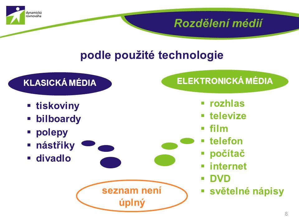 8 Rozdělení médií podle použité technologie  tiskoviny  bilboardy  polepy  nástřiky  divadlo  rozhlas  televize  film  telefon  počítač  in