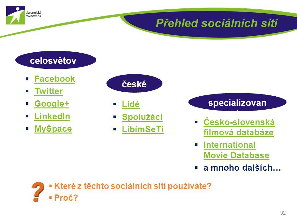 Přehled sociálních sítí  Facebook Facebook  Twitter Twitter  Google+ Google+  LinkedIn LinkedIn  MySpace MySpace 92  Lidé Lidé  Spolužáci Spolu