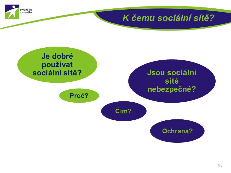 K čemu sociální sítě? 93 Je dobré používat sociální sítě? Proč? Jsou sociální sítě nebezpečné? Čím? Ochrana?