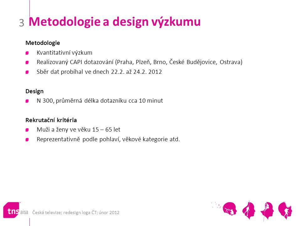 Česká televize; redesign loga ČT; únor 2012 3 Metodologie a design výzkumu Metodologie Kvantitativní výzkum Realizovaný CAPI dotazování (Praha, Plzeň,