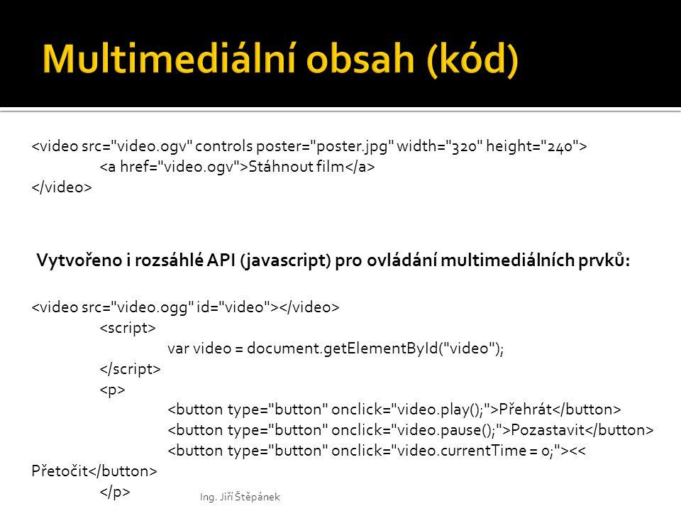 Stáhnout film var video = document.getElementById( video ); Přehrát Pozastavit Vytvořeno i rozsáhlé API (javascript) pro ovládání multimediálních prvků: Ing.