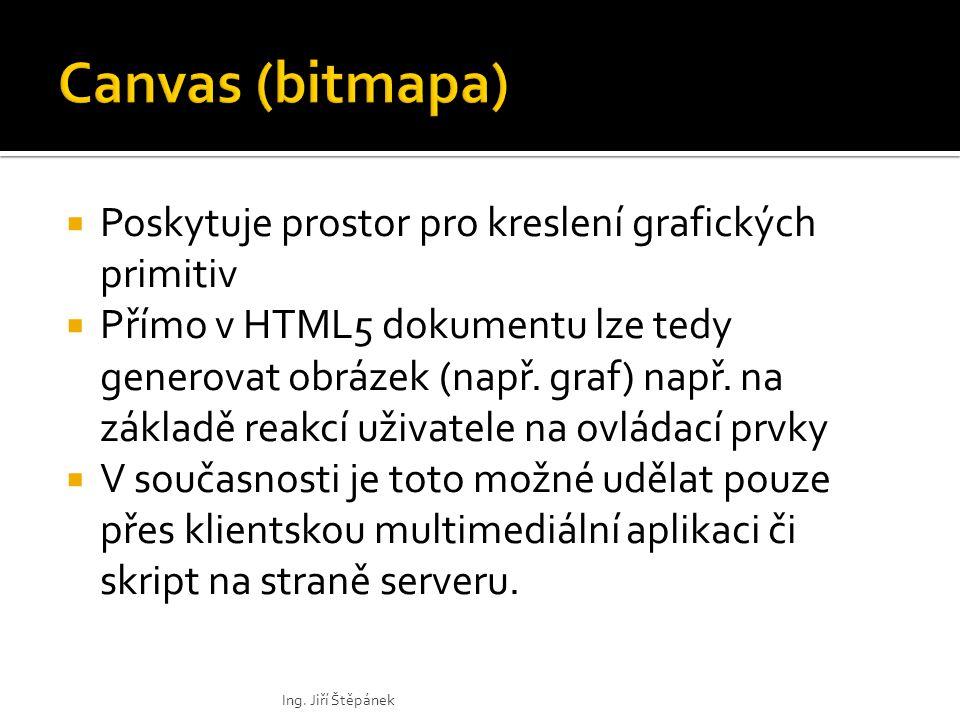  Poskytuje prostor pro kreslení grafických primitiv  Přímo v HTML5 dokumentu lze tedy generovat obrázek (např.