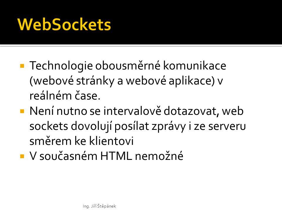 Technologie obousměrné komunikace (webové stránky a webové aplikace) v reálném čase.