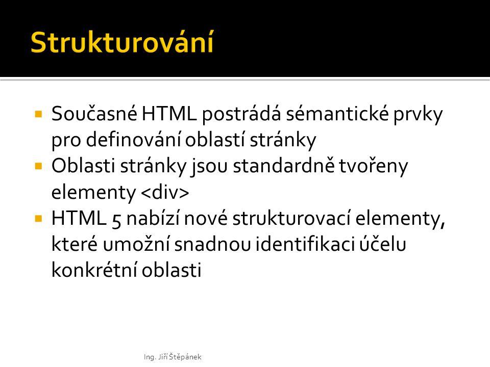  Současné HTML postrádá sémantické prvky pro definování oblastí stránky  Oblasti stránky jsou standardně tvořeny elementy  HTML 5 nabízí nové strukturovací elementy, které umožní snadnou identifikaci účelu konkrétní oblasti Ing.