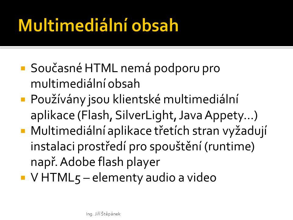  Současné HTML nemá podporu pro multimediální obsah  Používány jsou klientské multimediální aplikace (Flash, SilverLight, Java Appety…)  Multimediální aplikace třetích stran vyžadují instalaci prostředí pro spouštění (runtime) např.