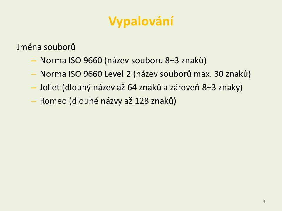 Vypalování Jména souborů – Norma ISO 9660 (název souboru 8+3 znaků) – Norma ISO 9660 Level 2 (název souborů max. 30 znaků) – Joliet (dlouhý název až 6