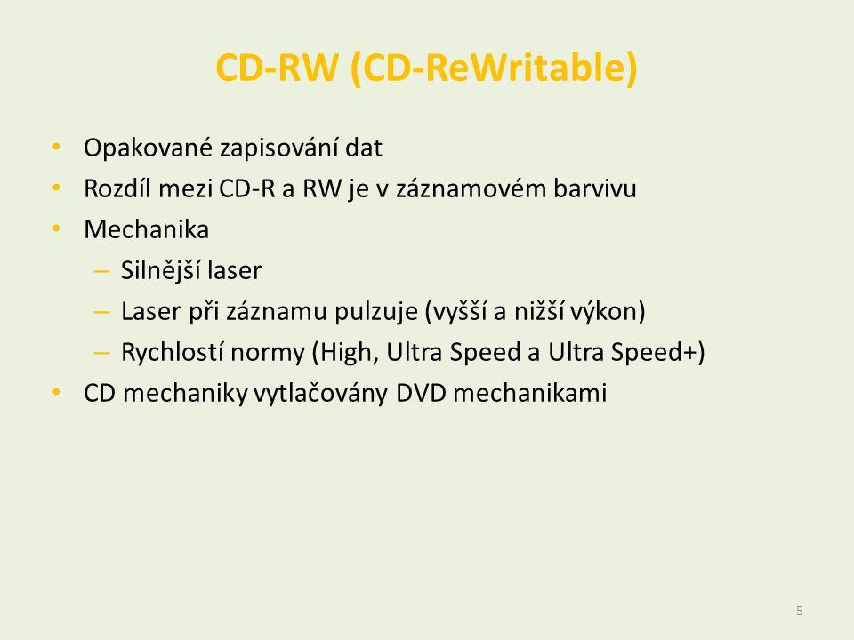 CD-RW (CD-ReWritable) • Opakované zapisování dat • Rozdíl mezi CD-R a RW je v záznamovém barvivu • Mechanika – Silnější laser – Laser při záznamu pulzuje (vyšší a nižší výkon) – Rychlostí normy (High, Ultra Speed a Ultra Speed+) • CD mechaniky vytlačovány DVD mechanikami 5