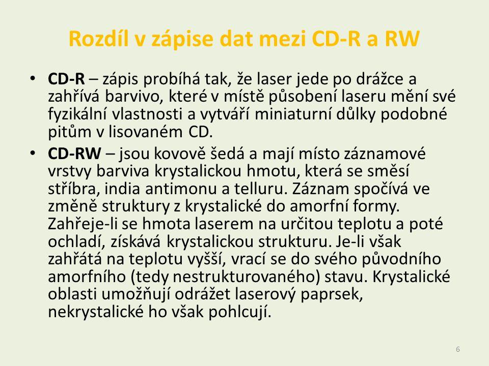 Rozdíl v zápise dat mezi CD-R a RW • CD-R – zápis probíhá tak, že laser jede po drážce a zahřívá barvivo, které v místě působení laseru mění své fyzik