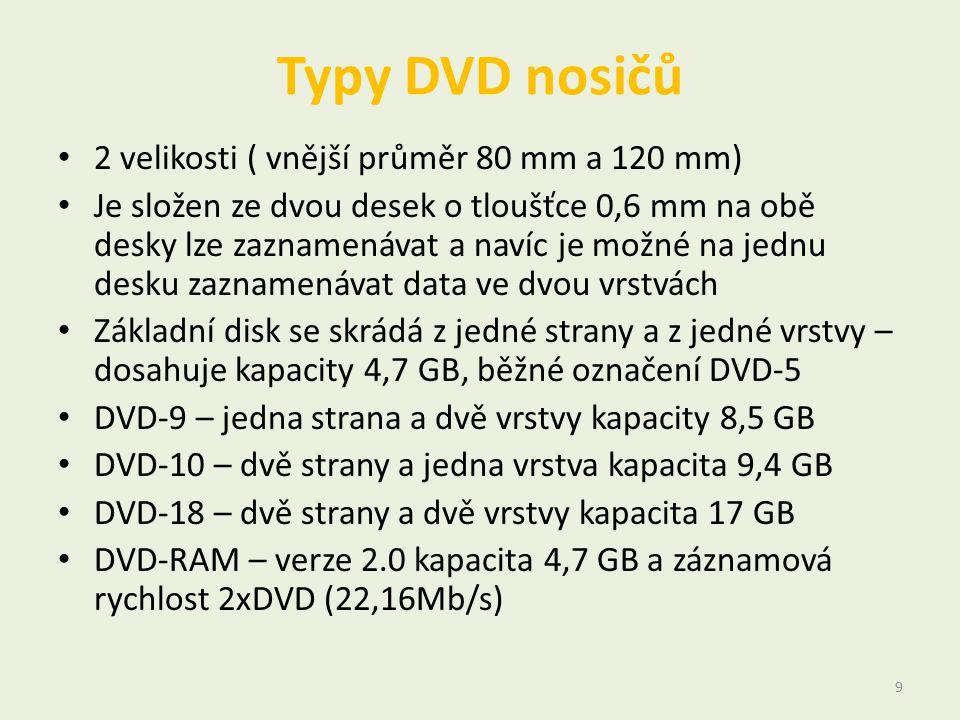 Typy DVD nosičů • 2 velikosti ( vnější průměr 80 mm a 120 mm) • Je složen ze dvou desek o tloušťce 0,6 mm na obě desky lze zaznamenávat a navíc je mož