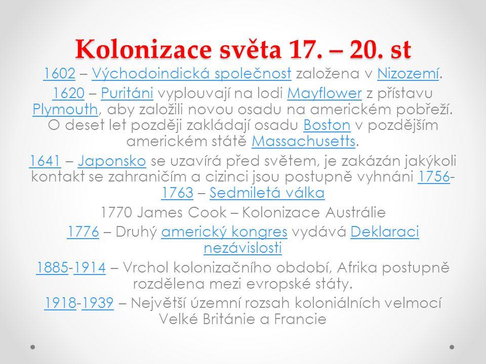 Kolonizace světa 17.– 20.