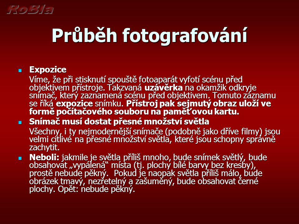 Průběh fotografování  Expozice Víme, že při stisknutí spouště fotoaparát vyfotí scénu před objektivem přístroje.