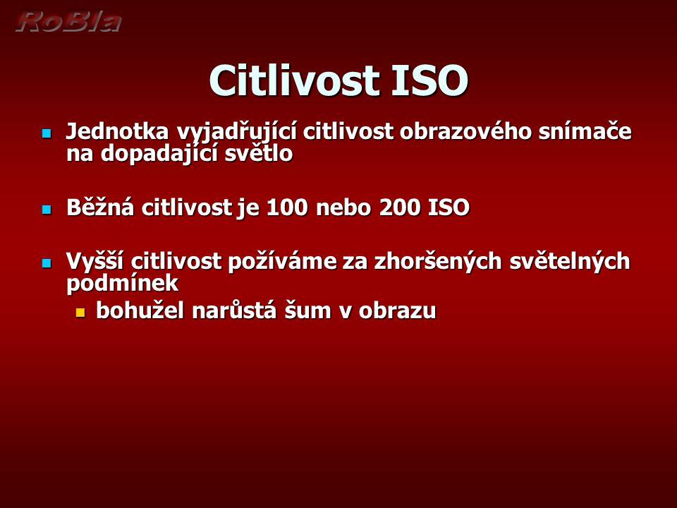Citlivost ISO  Jednotka vyjadřující citlivost obrazového snímače na dopadající světlo  Běžná citlivost je 100 nebo 200 ISO  Vyšší citlivost požíváme za zhoršených světelných podmínek  bohužel narůstá šum v obrazu