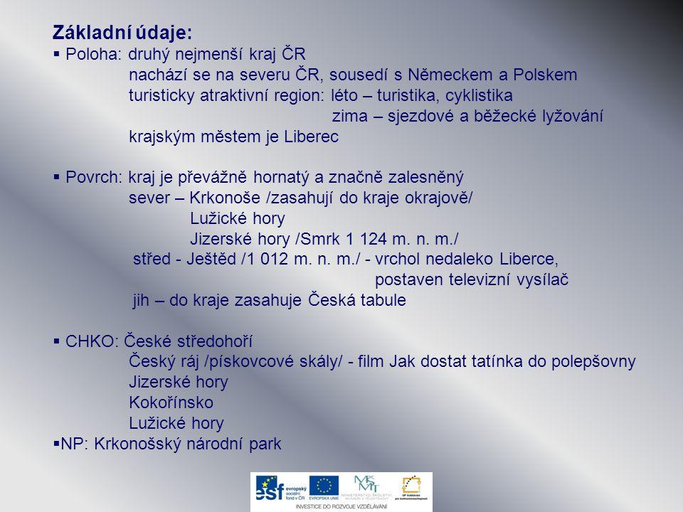 Základní údaje:  Poloha: druhý nejmenší kraj ČR nachází se na severu ČR, sousedí s Německem a Polskem turisticky atraktivní region: léto – turistika,