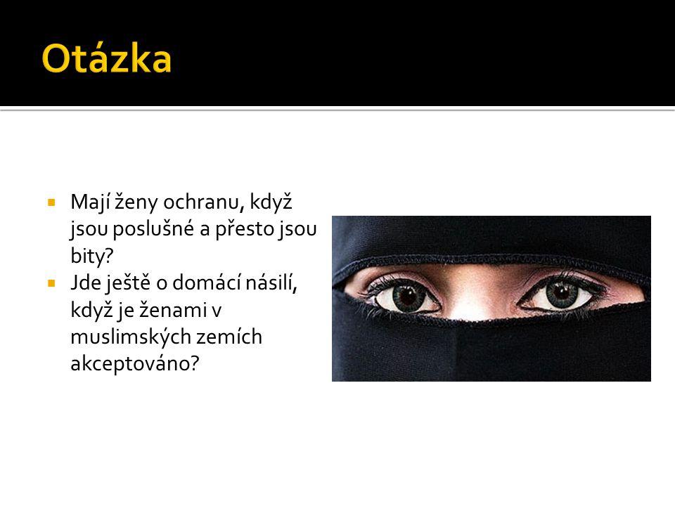  Mají ženy ochranu, když jsou poslušné a přesto jsou bity?  Jde ještě o domácí násilí, když je ženami v muslimských zemích akceptováno?