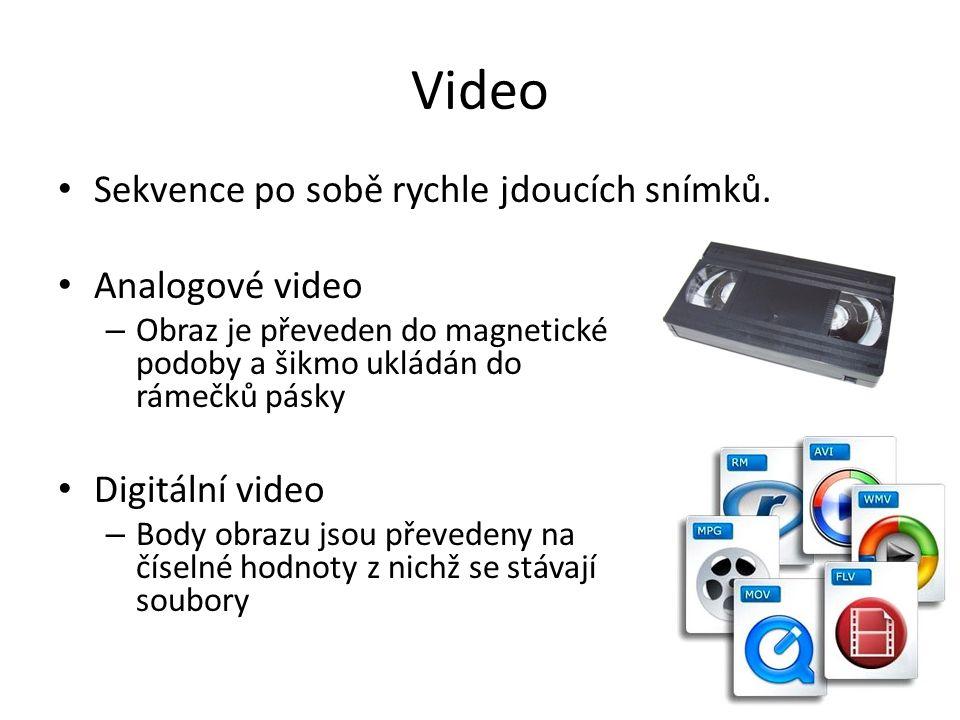 Video • Sekvence po sobě rychle jdoucích snímků. • Analogové video – Obraz je převeden do magnetické podoby a šikmo ukládán do rámečků pásky • Digitál
