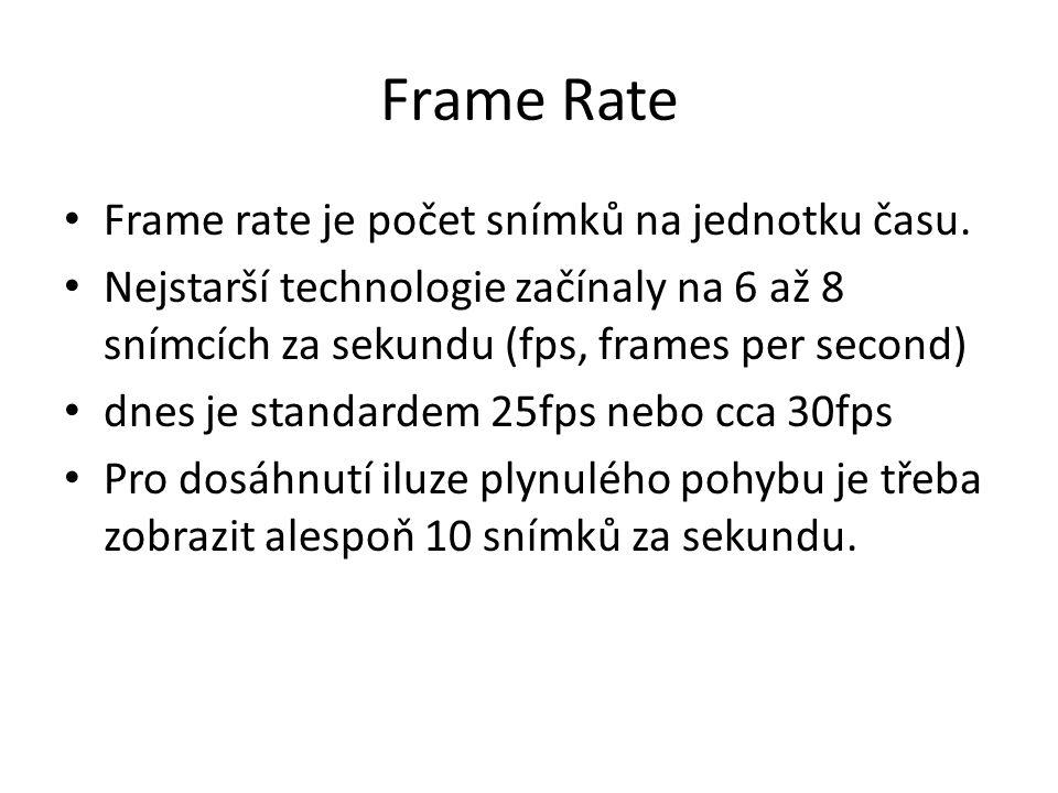 Frame Rate • Frame rate je počet snímků na jednotku času. • Nejstarší technologie začínaly na 6 až 8 snímcích za sekundu (fps, frames per second) • dn