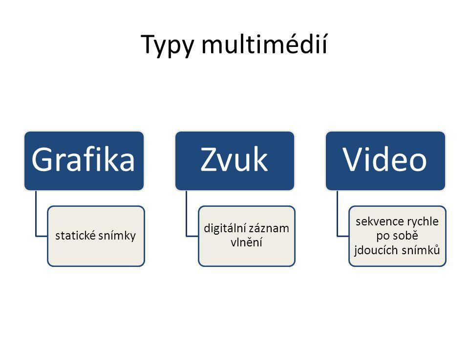 Typy multimédií Grafika statické snímky Zvuk digitální záznam vlnění Video sekvence rychle po sobě jdoucích snímků
