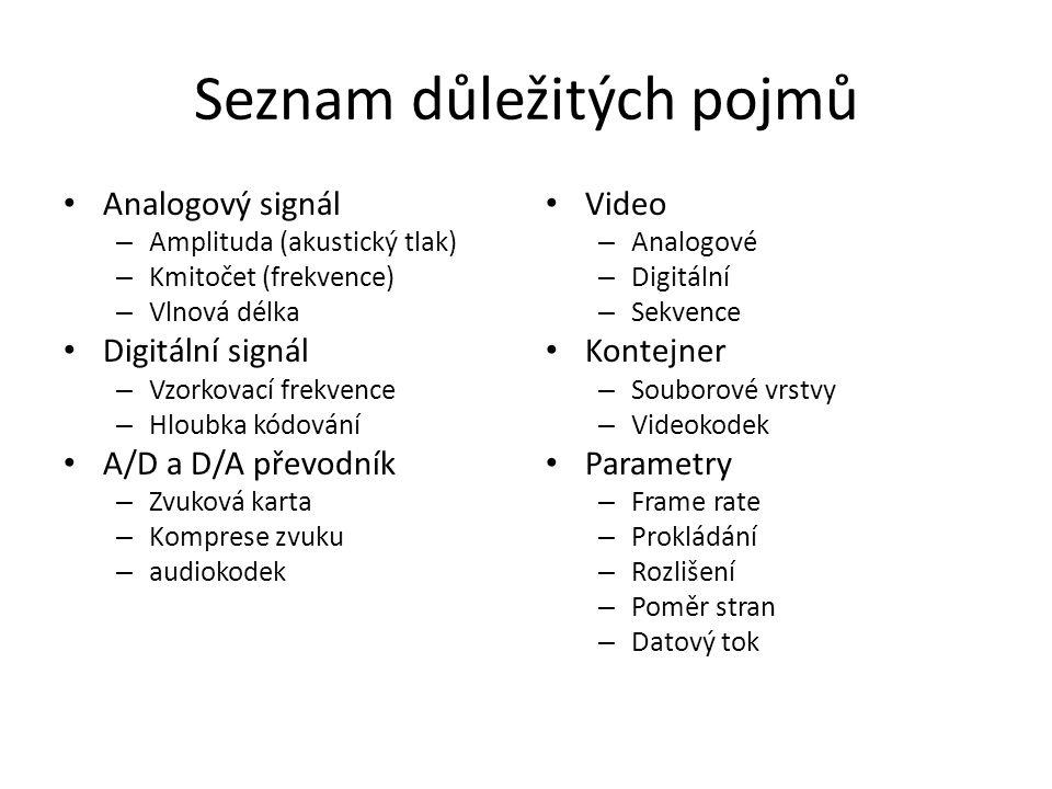 Seznam důležitých pojmů • Analogový signál – Amplituda (akustický tlak) – Kmitočet (frekvence) – Vlnová délka • Digitální signál – Vzorkovací frekvenc