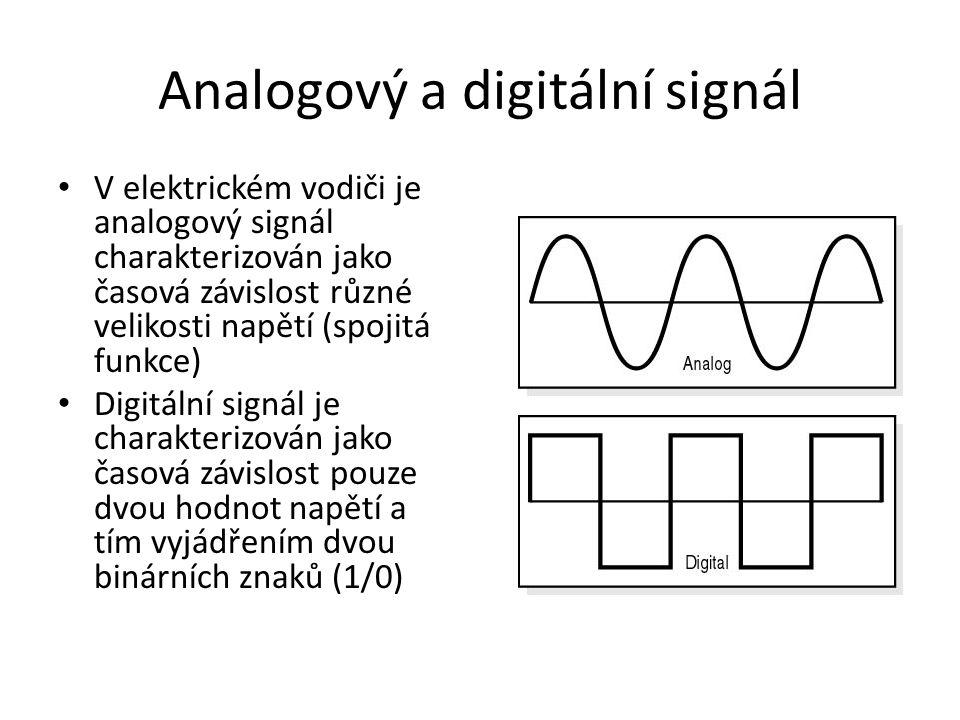 Analogový a digitální signál • V elektrickém vodiči je analogový signál charakterizován jako časová závislost různé velikosti napětí (spojitá funkce)